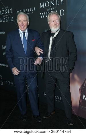 LOS ANGELES - DEC 18:  Ridley Scott, Christopher Plummer at the