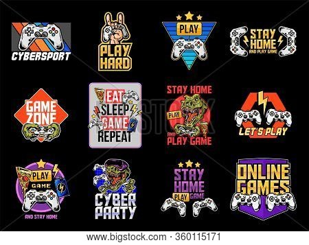 Game Design, Mascot Sport Logo Set Collection Of Video Game, Geek Culture, Gamer Elements Bundle. Ve