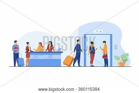 Tourists With Luggage Waiting At Hotel Reception Desk, Walking Through Lobby To Elevator. Receptioni