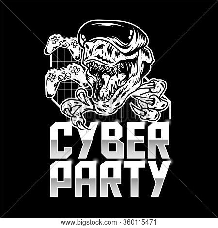 Virtual Party Inscription With Angry T Rex Dinosaur In Which Play Virtual Arcade Video Game In Moder