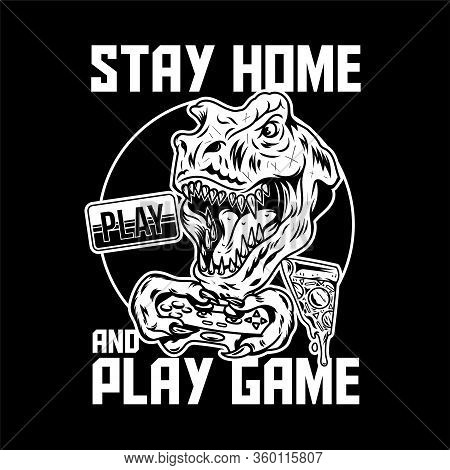 Apparel Print Design For Gamer And Geeks With T Rex Angry Dinosaur Which Play Video Game On Joystick