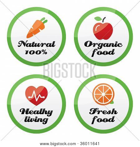 Organic food, fresh and natural products icons on green buttons