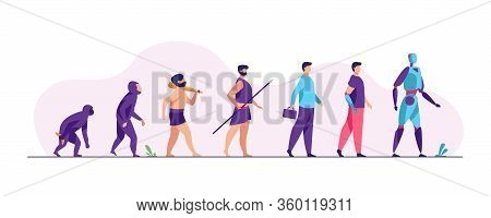 Human Evolution From Monkey To Cyborg. Primate, Ancestor, Caveman, Homo Sapience, Disabled Man With