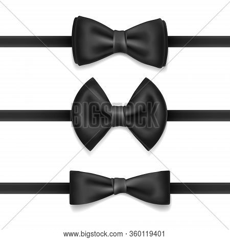 Vector Realistic Set Of Black Bow Tie For Men, Isolated On White Background. Knot Silk Bow. Bowtie F