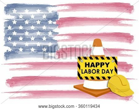 Us American Flag On Blue Background. Labor Day Background, For Usa Memorial Day, Memorial Day, Presi