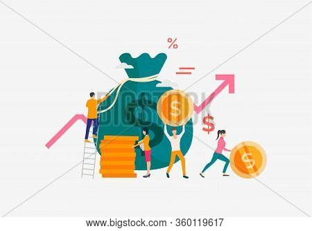 Capital Increasing Illustration. People Increase Money Capital And Profit. Business Result Concept.