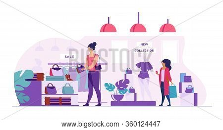 Female Customers Shopping In Clothes Shop. Women Choosing Garments, Fashion Accessories At Sale In B