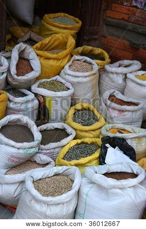 Bags of grain for sale