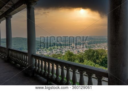 Overlooking The City Of Reading Pennsylvania On A Stormy Day