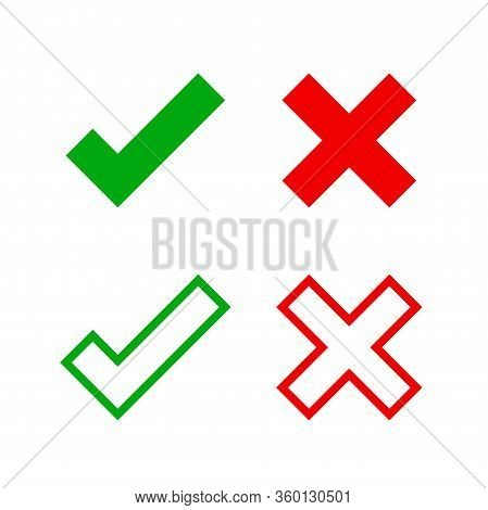 Check Mark And X For Confirm And Deny Icon Simple, Red Green Checkmark Isolated On White, Check List
