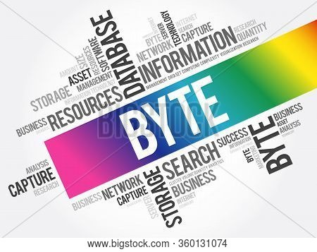 Byte Word Cloud Collage, Technology Concept Background