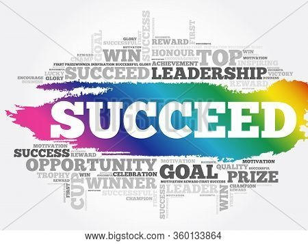 Succeed Word Cloud Collage, Business Concept Background