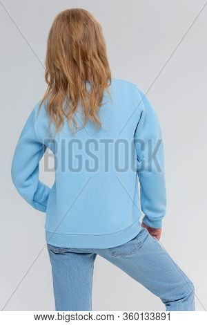 Blank Sweatshirt Mock Up Isolated. Female Wear Plain Hoodie Mockup. Plain Hoody Design Presentation.