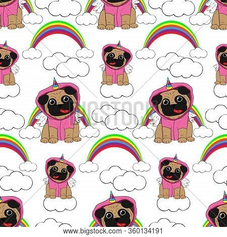 Vector Illustration. Pug Dressed In A Unicorn Costume. In The Background A Rainbow And Clouds. Objec