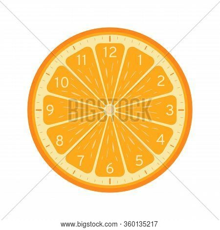 Orange Slice Concept, Printable Clock Face Template Isolated On White Background. Clock Dial With Or