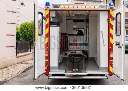 Bordeaux , Aquitaine / France - 04 05 2020 : Interior Rescue Truck Ambulance Van Firefighter Rescue