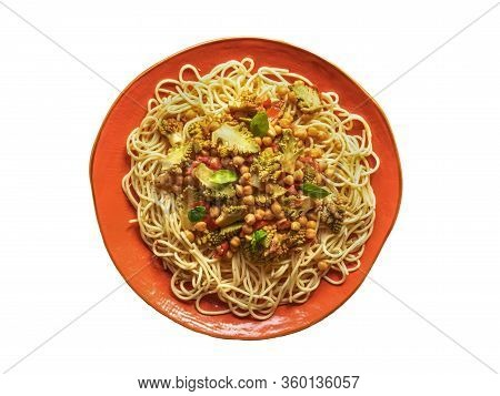 Isolated Nutty Roasted Romanesco Curry With Noodles. Top View.