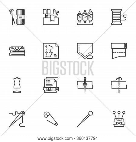Sewing And Knitting Line Icons Set. Linear Style Symbols Collection, Outline Signs Pack. Tailor Shop