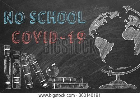 Lettering Class Of 2020, Rotating Globe And School Books Are Drawn With Chalk On A Blackboard.