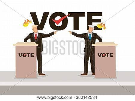 Two Politicians Taking Part In Political Debates In Front Of Audience. Election Concept. Vector Illu