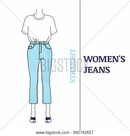 Women's Blue Jeans With Straight Silhouette. Shortened, High-waisted Pants Classic Fit And Basic T-s
