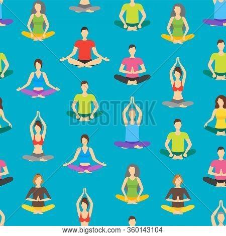 Cartoon Meditation Character People Seamless Pattern Background On A Blue Meditating Concept Flat De