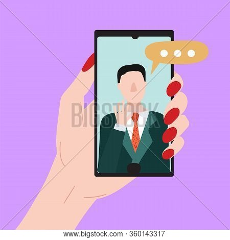 Cartoon People Chating In Messenger And Character Person Male Social Communication Friendship And Lo