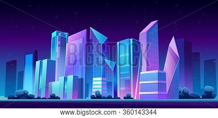 Urban Cityscape Panoramic Night Banner Vector Cartoon Illustration With Buildings, City Skyline With
