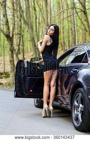 My Car Is Broken. Defenseless Naive Girl Needs Help. Sexy Girl Elegant Dress At Road. Sexy Girl And