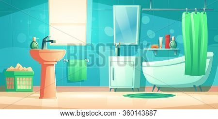Bathroom Interior With Bath, Shower Curtain, Sink, Mirror And Window. Vector Cartoon Washroom With T