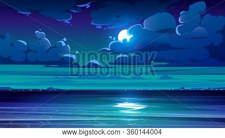 Night Sea Landscape With Moon, Stars And Clouds In Dark Sky. Vector Cartoon Illustration Of Midnight