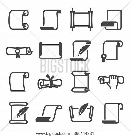 Paper Scroll Icon Set, Document And Manuscript Page