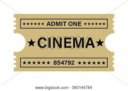 Illustration Of A Cinema Ticket With A Retro Design With The Text Admit One, Cinema, In Beige Color