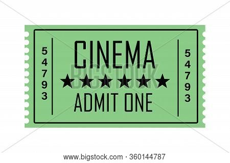 Illustration Of A Cinema Ticket With A Retro Design With The Text Cinema, Admit 1, In Green