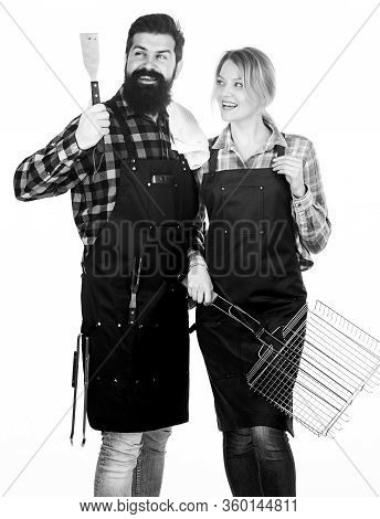 Backyard Barbecue Party. Family Bbq Ideas. Couple In Love Getting Ready For Barbecue. Picnic And Bar