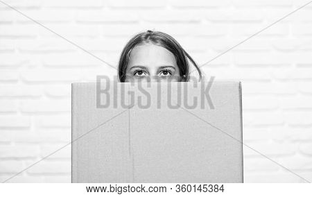 Delivery. Little Girl With Box. Moving To New Apartment. Perfect Purchase. Moving Concept. Move To N