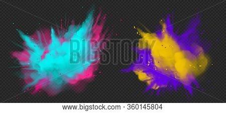Holi Paint Powder Color Explosion Realistic Vector Illustration. Blue Pink, Yellow Purple Dust Splas