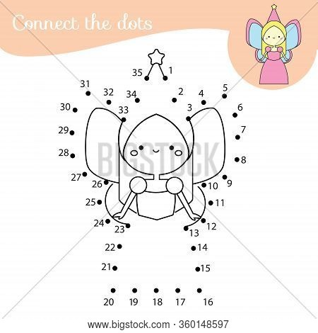 Cute Fairy Connect The Dots. Dot To Dot By Numbers Activity For Kids And Toddlers. Children Educatio