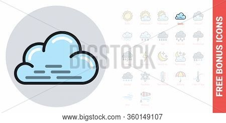 Cloudy, Cloudiness Or Overcast Icon For Weather Forecast Application Or Widget. Cloud Close Up. Simp
