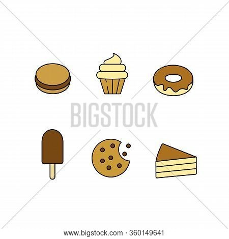Set Bundle Of Graphic Icons For Pastry Sweets Cupcake With Whipped Buttercream Chocolate Chip Cookie