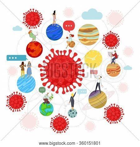 Corona Virus - Staying At Home Self-isolation. Home Quarantine Illustration. Corona Virus Self-quara