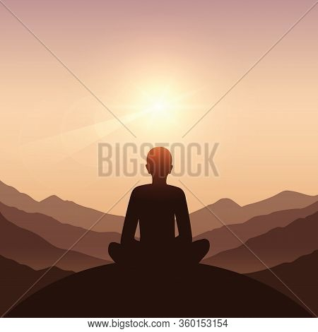 Peace Of Mind Meditation Concept Silhouette With Mountain Background Vector Illustration Eps10