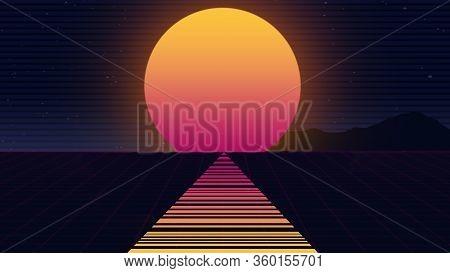 Beautiful Beach Evening, Synth Wave And Retro Wave, Vaporwave Futuristic Aesthetics. Ultraviolet, Gl