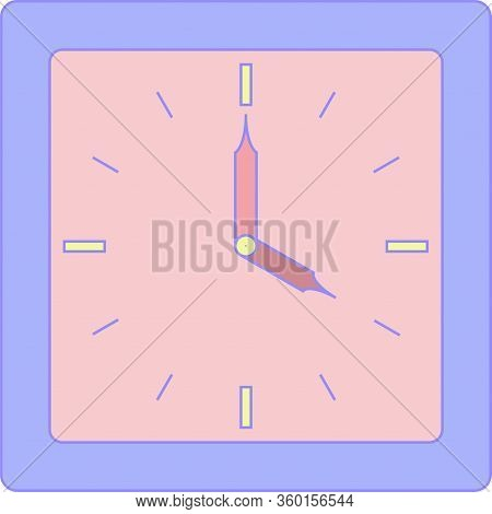 The Clock Of Alarm With Purple Corpus And Rose Face Or Dial. Four Or Sixteen Hours O Clock