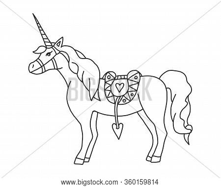 Vector Coloring With Realistic Unicorn. Coloring Pages For Adults And Children With A Magic Horse Fo