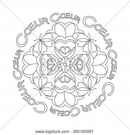 Hearts And Butterflies, Mandala Original. Mandala Coloring Page, Illustration Vector. Art Therapy. A