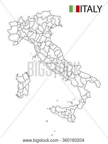 Italy Map, Black And White Detailed Outline Regions Of The Country.