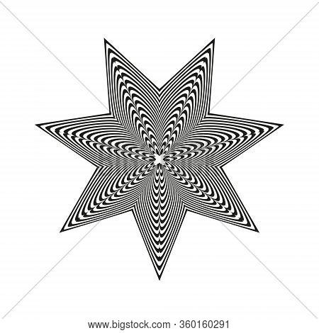 Abstract Black And White Striped Star. Geometric Pattern With Visual Distortion Effect. Optical Illu
