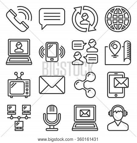 Contact Icons Set On White Background. Line Style Vector