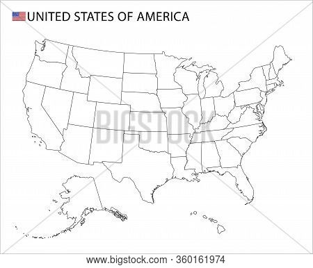 Usa Map, Black And White Detailed Outline Regions Of The Country.